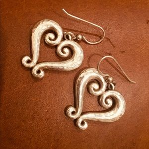 Brighton Genoa Heart Hammered silver earrings